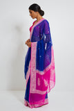 Blue Handloom Pure Silk-Chiffon Banarasi Saree with Zari and Pink Border