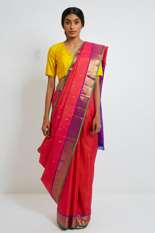 Pink Genuine Handwoven Kanjeevaram Silk Saree with Pure Zari