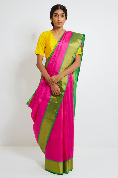 Via East pink genuine handwoven kanjeevaram silk saree with pure zari border