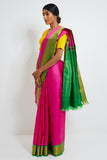 Pink Genuine Handwoven Kanjeevaram Silk Saree with Pure Zari Border