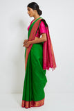 Green Genuine Handwoven Kanjeevaram Silk Saree with Pure Zari Border