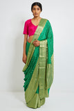 Green Handloom Pure Crepe Saree with All Over Zari Motif