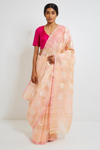 Peach and White Handloom Pure Silk Linen Check Saree