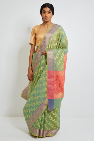 Green Kora Silk Banarasi Saree with Allover Pattern and Purple Border