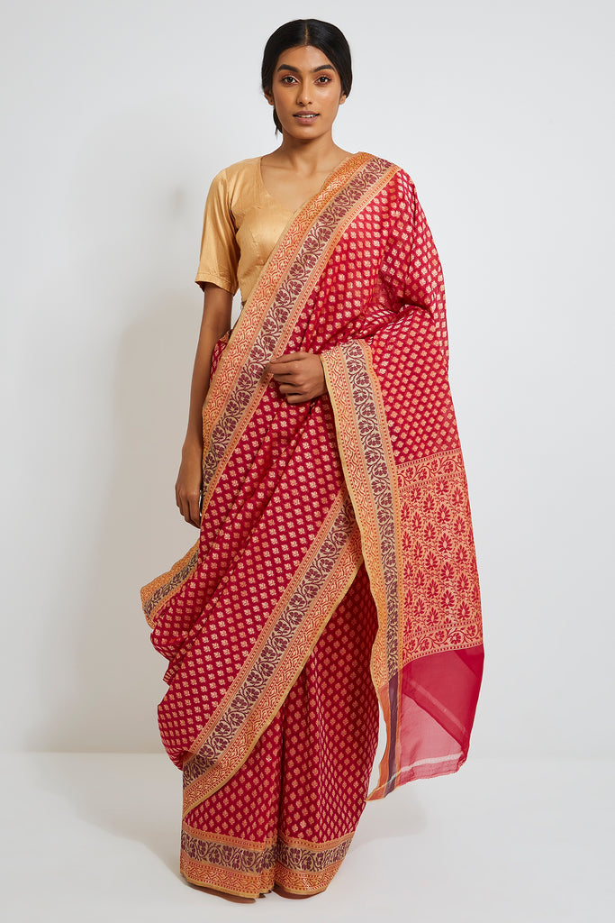 Dark Pink Handloom Kora Silk Banarasi Saree with Gold Zari Motifs
