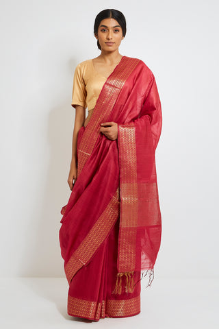 Red Handloom Pure Tussar Silk Saree with Intricate Gold Zari Border
