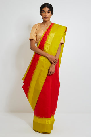 Red Genuine Handwoven Kanjeevaram Silk Saree with Pure Zari and Temple Border
