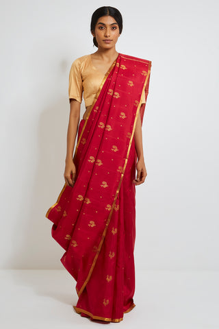 Scarlet Red Genuine Handwoven Kanjeevaram Silk Saree with Pure Zari Peacock Motifs