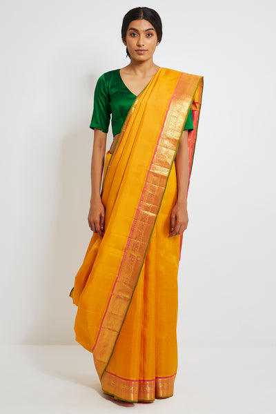 Via East saffron genuine handwoven kanjeevaram silk saree with pure zari border