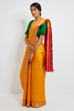 Saffron Genuine Handwoven Kanjeevaram Silk Saree with Pure Zari Border