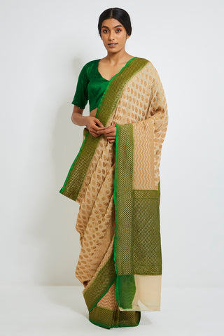 Beige Handloom Pure Khaddi Georgette Banarasi Saree with Zari Motif