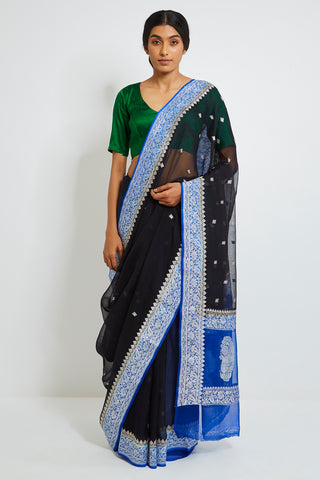 Black Handloom Pure Silk-Chiffon Banarasi Saree with Zari and Blue Border