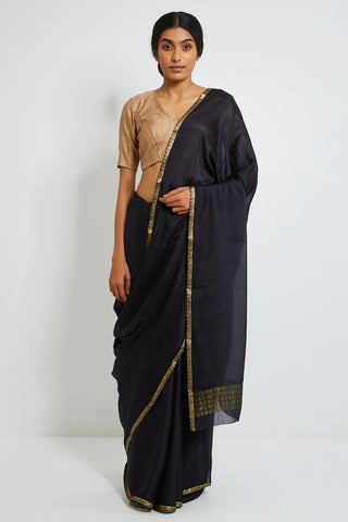 Black Pure Chiffon Saree with Gold Zari Border
