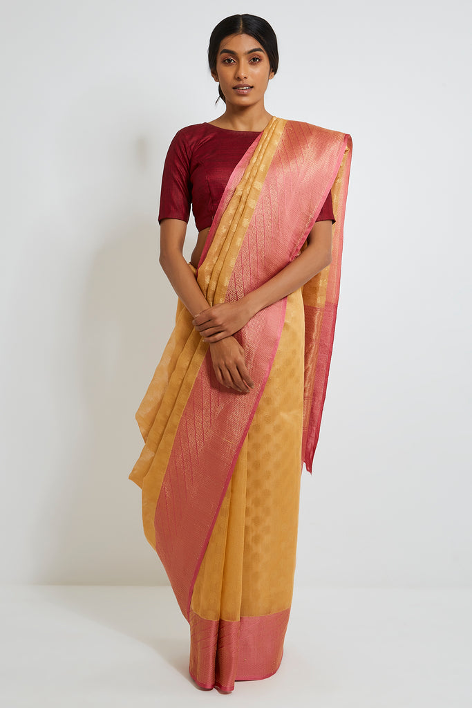 Gold-Beige Handloom Pure Silk Banarasi Saree with Pink Gold Zari Double Border