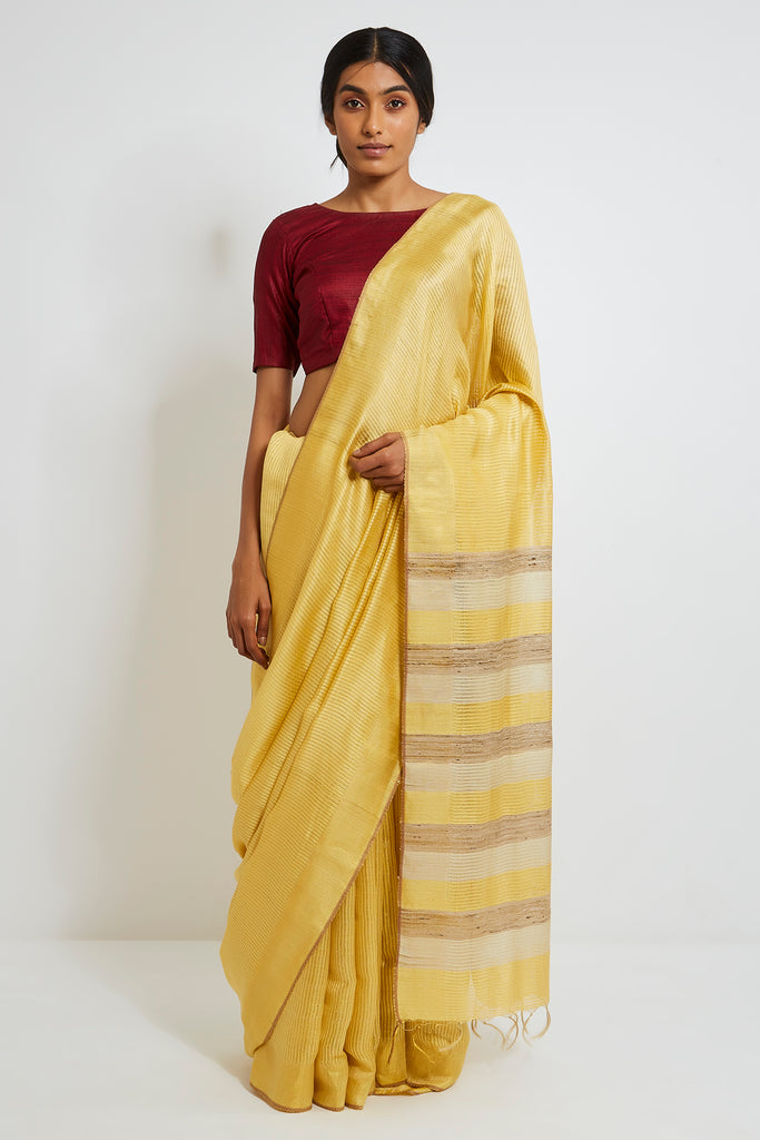 Cream Handloom Pure Silk Saree with Gold Zari Border and Jute Pallu