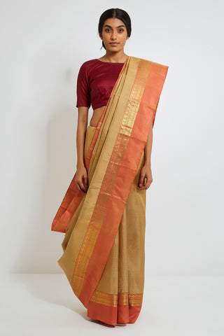 Beige Genuine Handwoven Kanjeevaram Silk Saree with Pure Zari