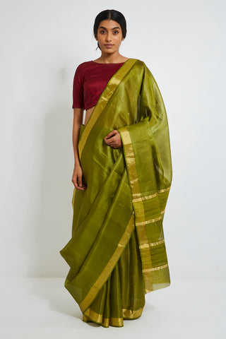 Olive Green Handloom Pure Silk-Tissue Sheer Saree with Gold Zari Border and Pallu