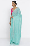 Turquoise Green Handloom Pure Linen Saree with All Over Sequin Work and Striking Blouse