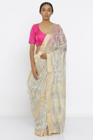 Muted Gold Handloom Pure Silk-Tissue Sheer Saree with All Over Floral Embroidery