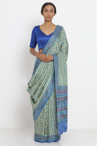 Blue Beige Handloom Pure Silk Saree with All Over Floral Print