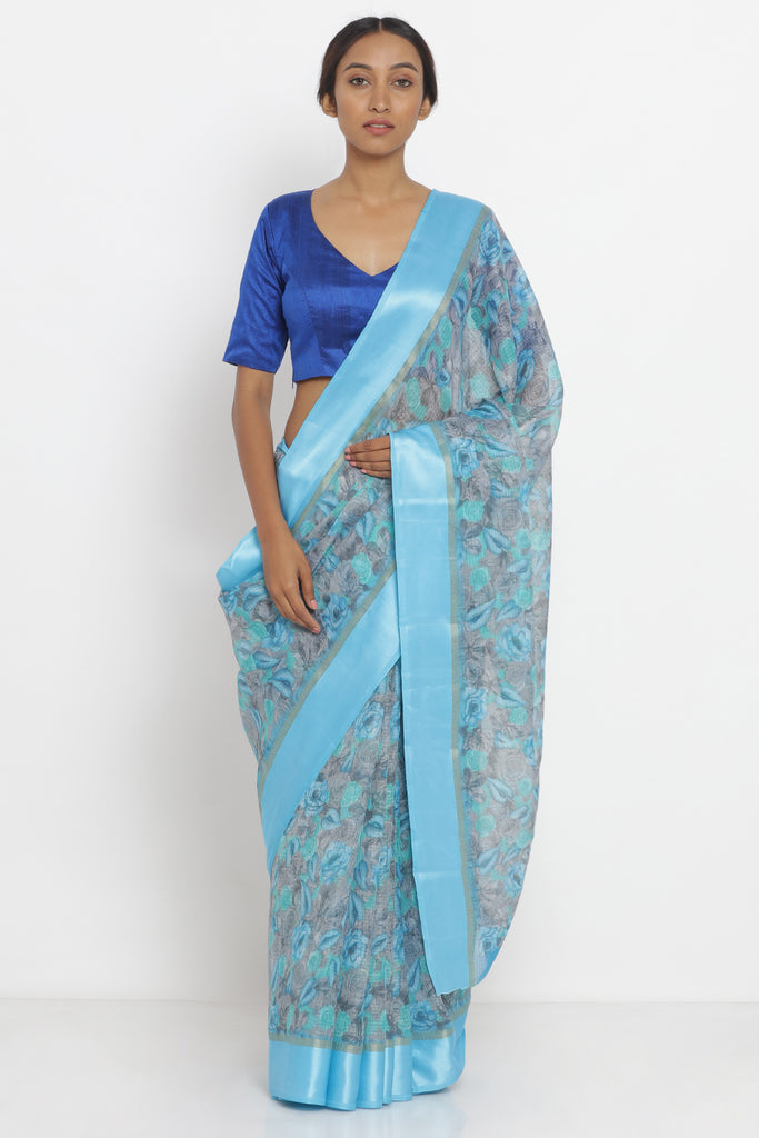 Blue - Grey Handloom Pure Kota Silk Saree with All Over Floral Print and Woven Border