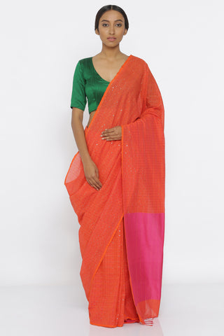 Bright Orange Handloom Pure Cotton Saree with All Over Sequins and Pink Woven Pallu