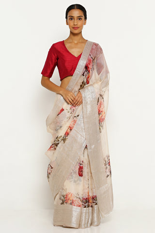 Dull Peach Pure Silk Kota Saree with All Over Floral Print