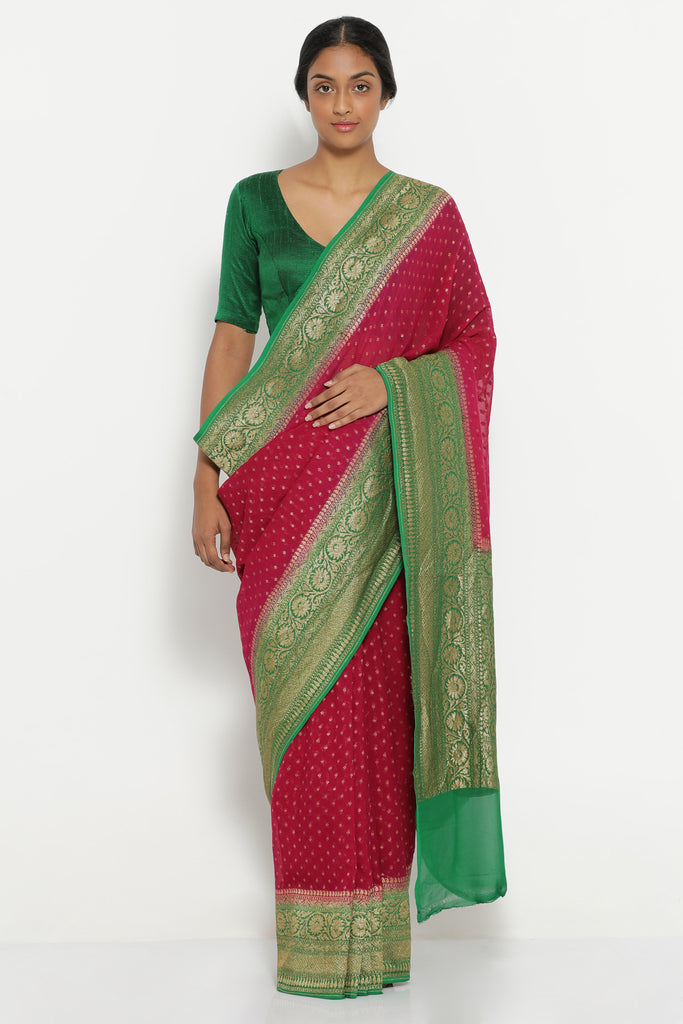 Bright Pink Handloom Pure Silk-Georgette Banarasi Saree with Antique Gold Zari Detailing