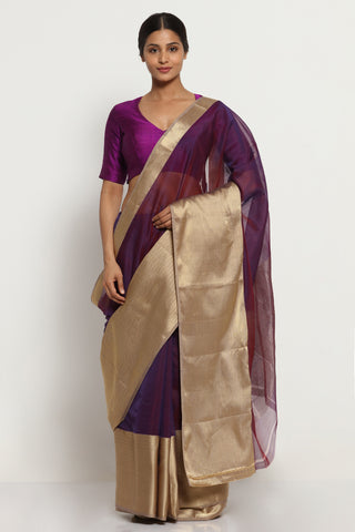Purple Handloom Silk Cotton Chanderi Saree with Rich Gold Border