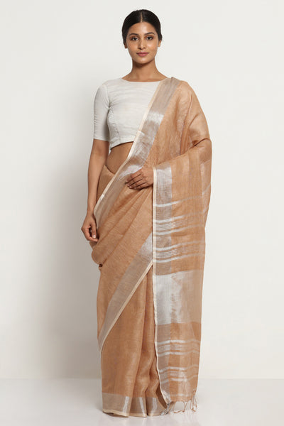 Via East mocha brown pure linen saree with silver zari border and striking blouse