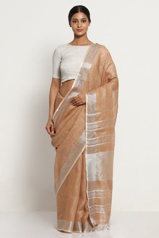 Mocha Brown Pure Linen Saree with Silver Zari Border and Striking Blouse