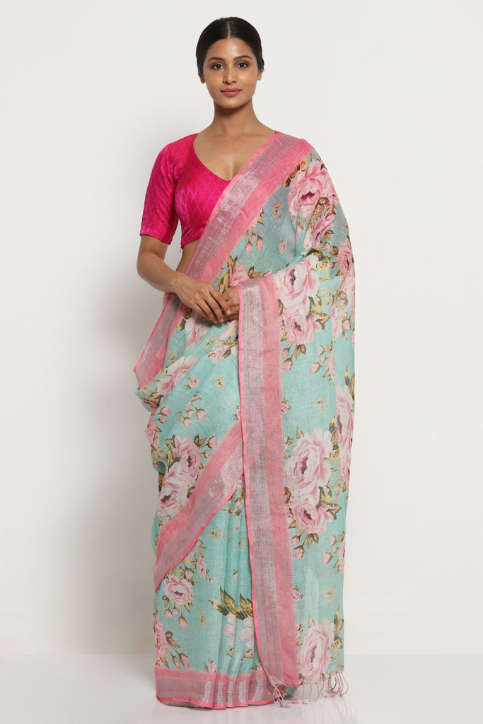Turquoise Blue Pure Linen Saree with All Over Floral Print and Silver Zari Border