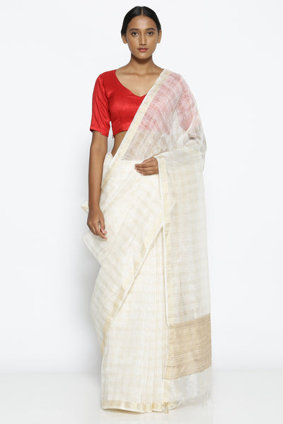 Via East white pure linen handloom saree with all over gold zari checked pattern