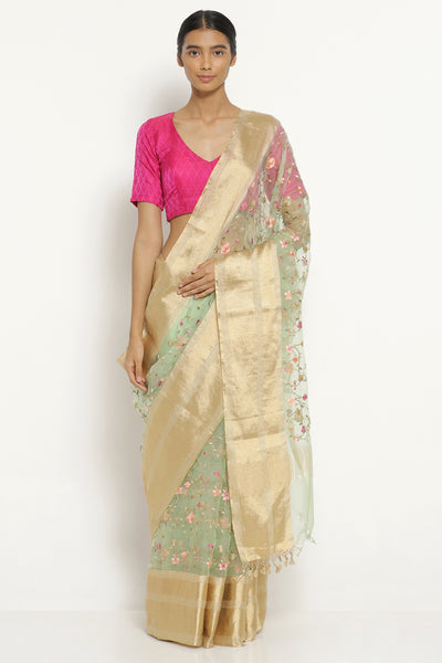 Via East mint green handloom pure silk organza saree with all over floral embroidery