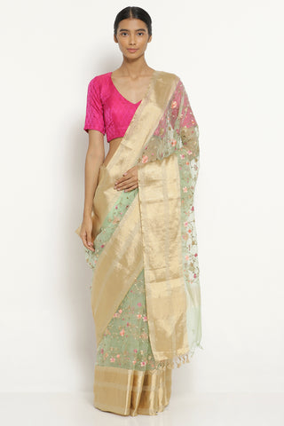 Mint Green Handloom Pure Silk-Organza Saree with All Over Floral Embroidery