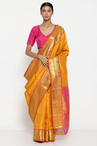 Deep Yellow Handloom Pure SIlk Kanjeevaram Saree with Pure Zari Border