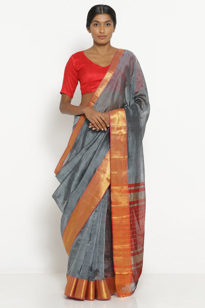 Via East grey handloom silk cotton mangalagiri saree with contrasting red border