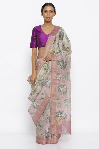 Lilac Ombre Pure Linen Tussar Silk Saree with All Over Floral Print