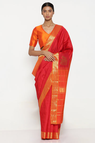 Via East scarlet red handloom pure silk kanjevaram saree with all over zari motifs and traditional gold zari border