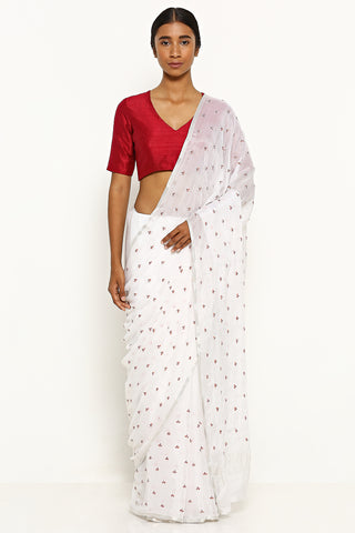 White Pure Crepe Saree with All Over Floral Embroidered Motifs