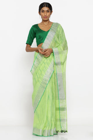 Lime Green Pure Linen Saree with Yarn-Dyed Pattern and Zari Border