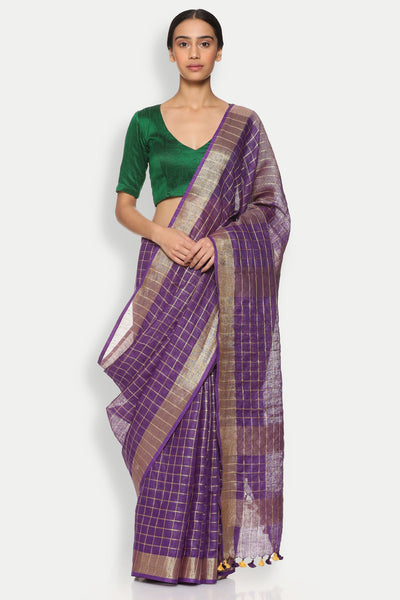 Via East copy of deep violet pure linen saree with all over checked pattern