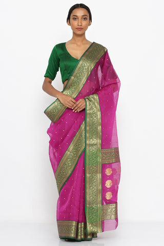 Purple Handloom Pure Silk Chanderi Sheer Saree with Allover Zari Motif and Detailed Border