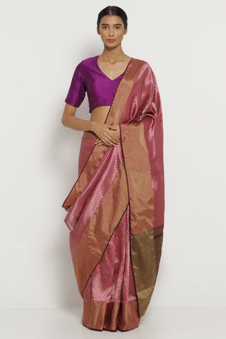 Pink Handloom Pure Silk Banarasi Saree with All Over Intricate Gold Zari Motifs