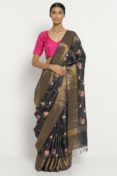 Via East charcoal grey handloom pure tussar silk saree with all over floral embroidery