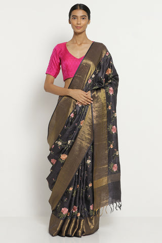 Charcoal Grey Handloom Pure Tussar Silk Saree with All Over Floral Embroidery
