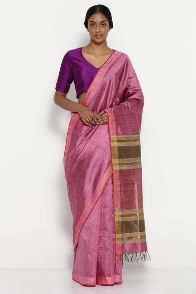 Via East berry pink handloom pure tussar silk saree with gold zari border
