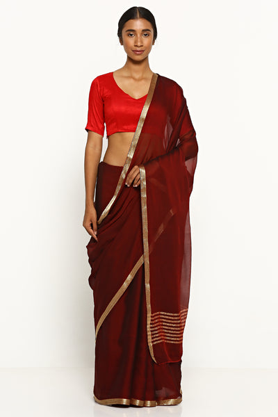 Via East maroon pure wrinkled chiffon saree with woven gold zari border