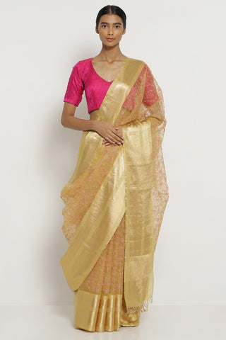 Yellow Handloom Pure Silk-Organza Saree with All Over Floral Embroidery