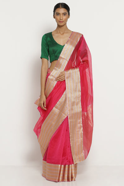Via East bright pink handloom silk cotton chanderi saree with silver gold border